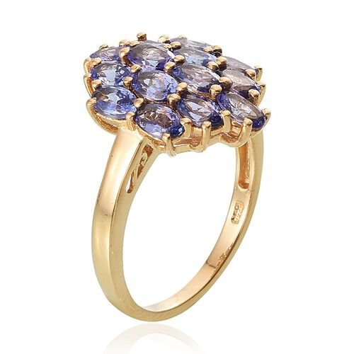 Tanzanite (Ovl) Cluster Ring in 14K Gold Overlay Sterling Silver 3.000 Ct.