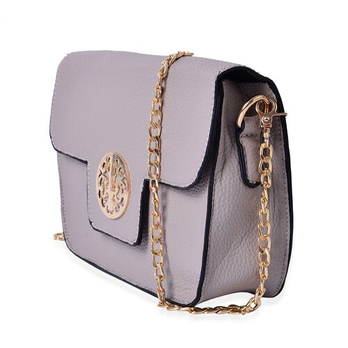 Grey Colour Crossbody Bag with Chain Strap (Size 21x14x4 Cm)