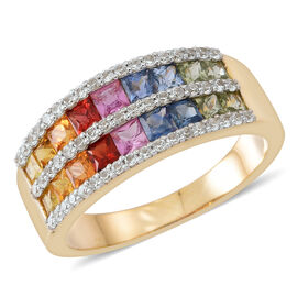 9K Y Gold AAA Rainbow Sapphire (Princess Cut), Natural Cambodian Zircon Ring 3.500 Ct. Gold Wt. 5.00 Gms.