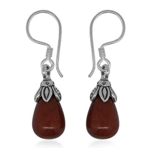 Super Auction - Royal Bali Collection Red Jade (Pear) Drop Hook Earrings in Sterling Silver 17.200 Ct.