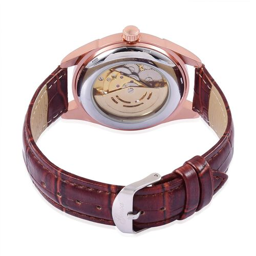 GENOA Automatic Skeleton Pink Austrian Crystal Studded White and Rose Gold Colour Dial Water Resistant Watch in Rose Gold Tone With Chocolate Leather Strap
