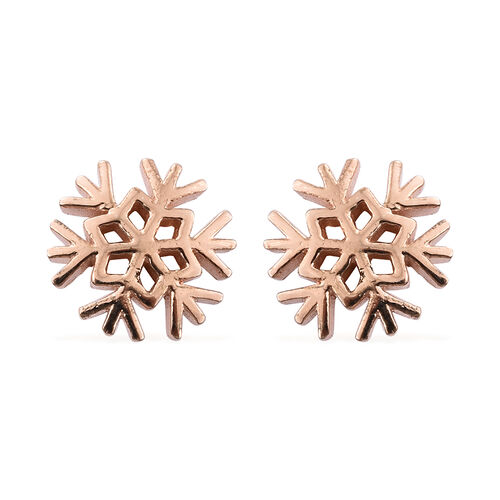 Rose Gold Overlay Sterling Silver Snowflake Earrings (with Push Back)