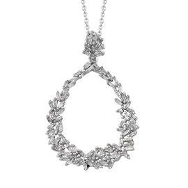 GP Diamond (Bgt), Kanchanaburi Blue Sapphire Pendant with Chain (Size 20) in Platinum Overlay Sterling Silver 0.510 Ct.
