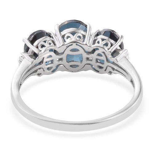 Indicolite Quartz (Ovl), Diamond Ring in Platinum Overlay Sterling Silver 5.500 Ct.