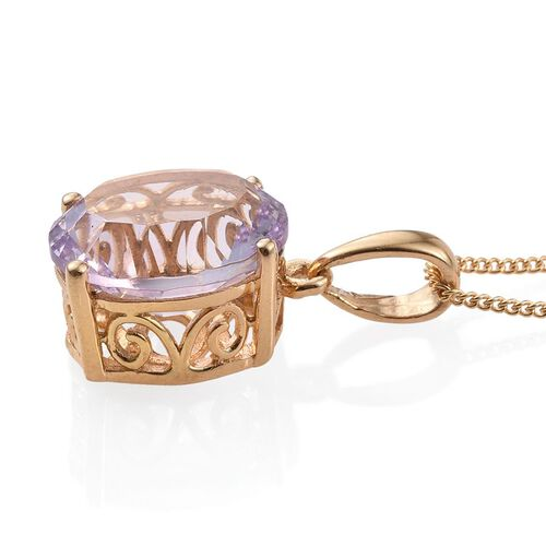Concave Cut Rose De France Amethyst (Ovl) Solitaire Pendant With Chain in 14K Gold Overlay Sterling Silver 4.250 Ct.