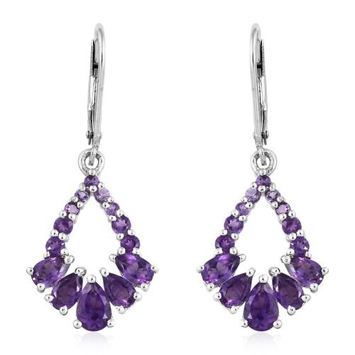 2.75 Ct Amethyst Lever Back Earrings in Platinum Plated Silver