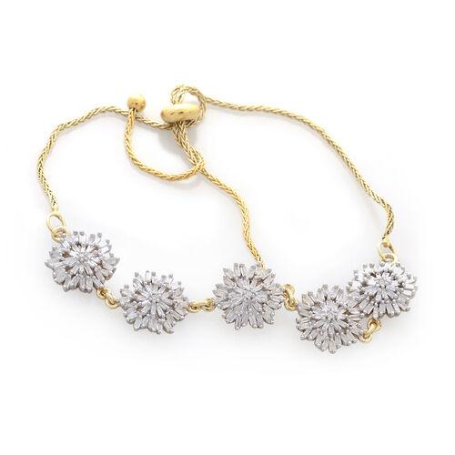 Diamond (Rnd) Adjustable Bracelet (Size 9) in 14K Gold Overlay Sterling Silver 1.005 Ct. Number of Diamond 185