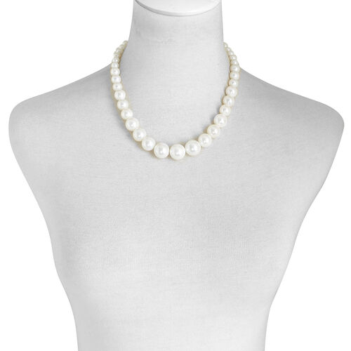 White Shell Pearl Necklace (Size 18) in Stainless Steel
