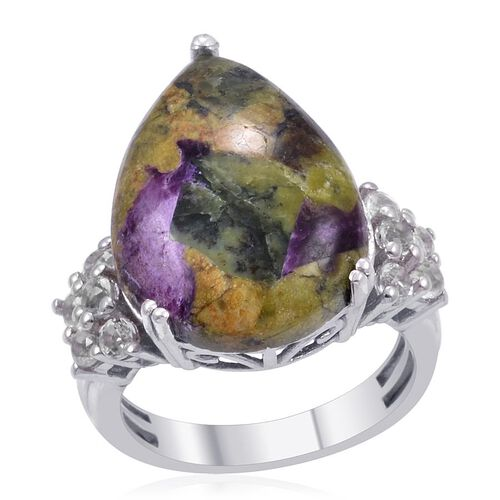 Designer Collection Australian Mohave Stichtite (Pear 9.75 Ct), White Topaz Ring in Platinum Overlay Sterling Silver 10.650 Ct.