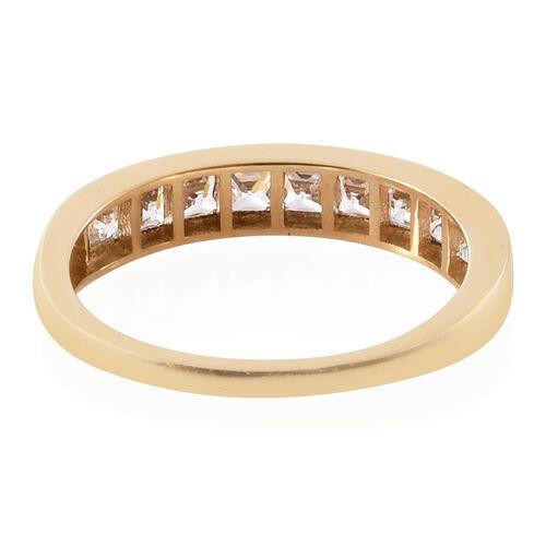 J Francis - 9K Y Gold (Princess Cut) Half Eternity Band Ring Made with SWAROVSKI ZIRCONIA