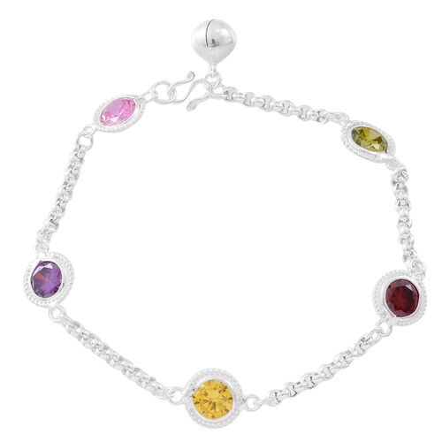 One Time Deal- ELANZA AAA Simulated Multi Colour Diamond (Rnd) Bracelet (Size 7.5) in Sterling Silver, Silver wt. 6.00 Gms.