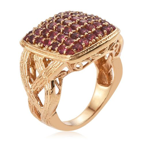 Mahenge Spinel (Rnd) Cluster Ring in 14K Gold Overlay Sterling Silver 2.250 Ct.