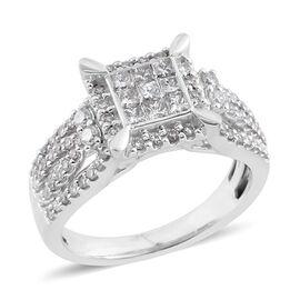DOD- NY Close Out Deal-14K White Gold Diamond (Princess & Rnd) (I1-I2/G-H) Ring  0.900 Ct, Gold wt 5.80 Gms.Size N