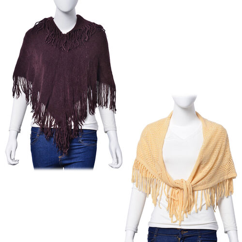 Beige Colour Floral Pattern Scarf with Tassels (Size 75x75 Cm) and Chocolate Colour Poncho with Tassels (Free Size)