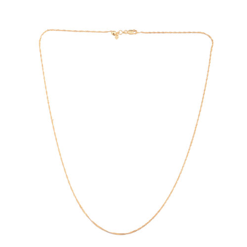 JCK Vegas Collection 14K Gold Overlay Sterling Silver Adjustable Singapore Chain (Size 24)
