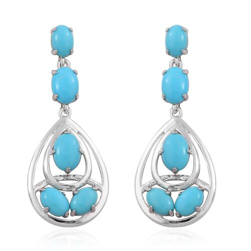 Arizona Sleeping Beauty Turquoise (Ovl) Earrings (with Push Back) in Platinum Overlay Sterling Silver 3.830 Ct.