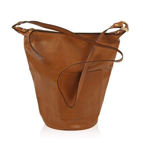 Anya 100% Genuine Leather Tan Crossbody Bag with Shoulder Strap (Size 28x25.5x16.5 Cm)