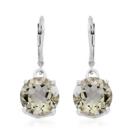 Green Amethyst (Rnd) Lever Back Earrings in Rhodium Plated Sterling Silver 9.500 Ct.
