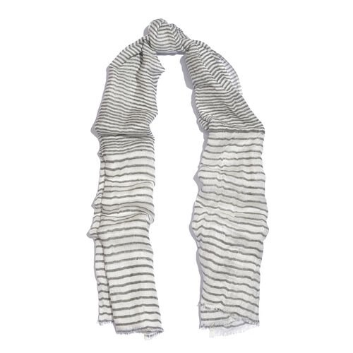 Grey and White Colour Handblock Stripe Printed Scarf (Size 180x70 Cm)