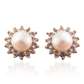 White Pearl and Tanzanite Flower Stud Earrings (with Push Back) in 14K Gold Overlay Sterling Silver