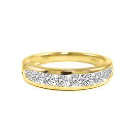 BRILLIANT CUT 9K Y Gold Diamond (Rnd) (I3/G-H) Half Eternity Band Ring 0.750 Ct.