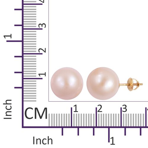 ILIANA Very Rare AAA Edison Pearl (14-15mm) Ball Stud Earrings in 18K Gold (with Screw Back)