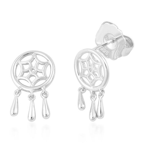 LucyQ Dream Catcher Earrings (with Push Back) in Rhodium Plated Sterling Silver
