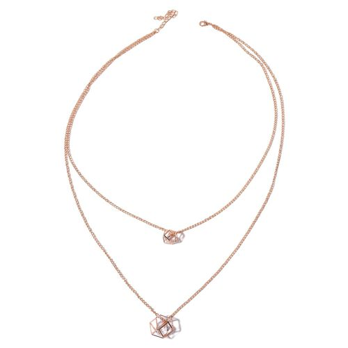 Simulated White Diamond Necklace (Size 26 with 2 inch Extender) in Rose Gold Tone