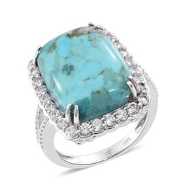 Arizona Matrix Turquoise (Cush 13.30 Ct), Natural Cambodian Zircon Ring in Platinum Overlay Sterling Silver 15.500 Ct.