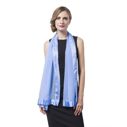 End Of Season Deal -100% Mulberry Silk Blue Colour Scarf with Satin Border (Size 160X60 Cm)