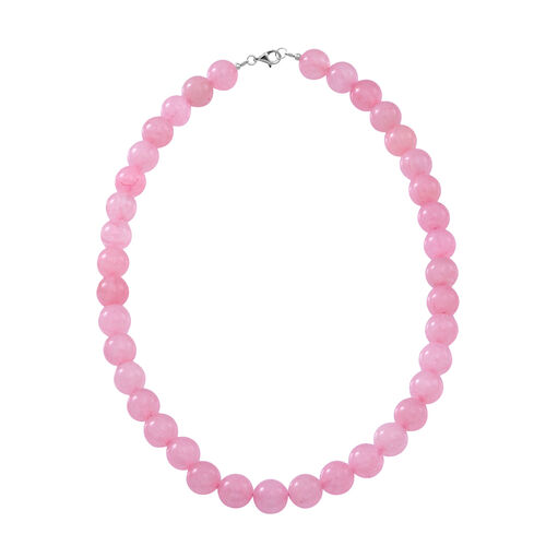 Rose Quartz (Rnd 12mm) Beaded Necklace (Size 18) in Rhodium Plated Sterling Silver 450.000 Ct.