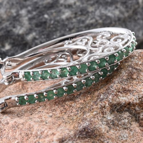 Kagem Zambian Emerald (Rnd) Filigree Hoop Earrings (with Clasp) in Platinum Overlay Sterling Silver 1.500 Ct. Silver wt. 7.30 Gms.