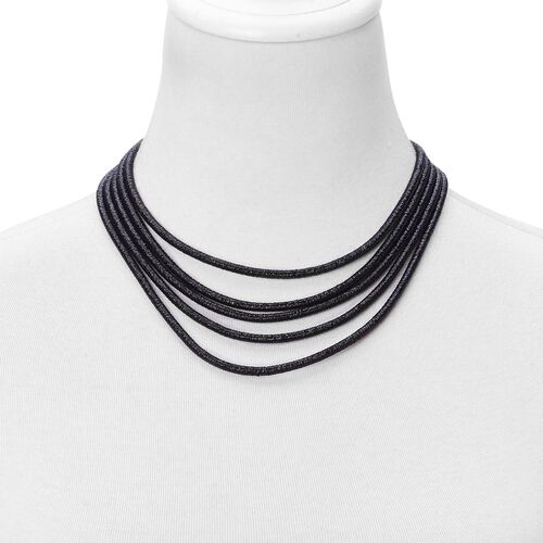 Multi Row Necklace (Size 20) and Bracelet (Size 7.5) in Black Tone