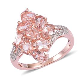 Very Limited Edition- Marropino Morganite (Ovl), Natural White Cambodian Zircon Ring in Rose Gold Overlay Sterling Silver 2.150 Ct.