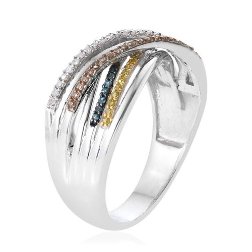 Blue, White, Yellow and Natural Champagne Diamond (Rnd) Criss Cross Ring in Platinum Overlay Sterling Silver 0.330 Ct.