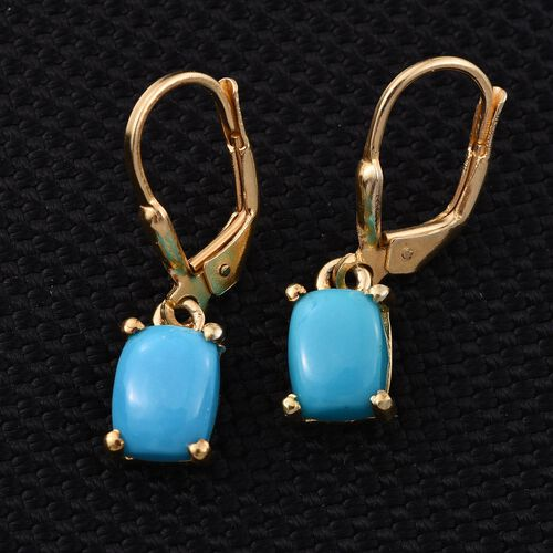 Arizona Sleeping Beauty Turquoise (Cush) Lever Back Earrings in 14K Gold Overlay Sterling Silver 2.750 Ct.