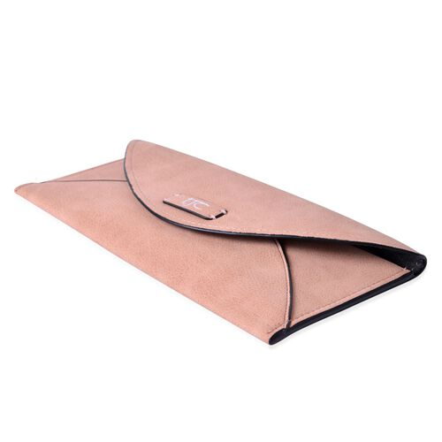 Set of 2 - TJC Envelope Design Light Pink Colour and Croc Embossed Dark Fuchsia Colour Wallet (Size 20.5x10 Cm and 20x10 Cm)