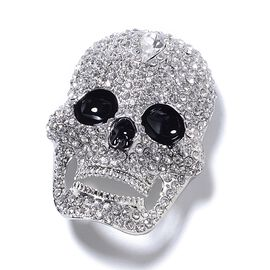 Close Out Deal - Simulated White Diamond (Pear) , Austrian White Crystal Skull Brooch in Silver Plated with Enameling.