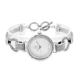 Bali Collection - EON 1962 Swiss Movement White Dial 3ATM Water Resistant Bracelet Watch (Size 7.5 with Half Inch Extender) in Sterling Silver and Stainless Steel, Silver wt 24.22 Gms.