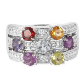 Mozambique Garnet (Rnd), Hebei Peridot, Sky Blue Topaz, Amethyst, Citrine and Iolite Ring in ION Plated Stainless Steel 2.000 Ct.