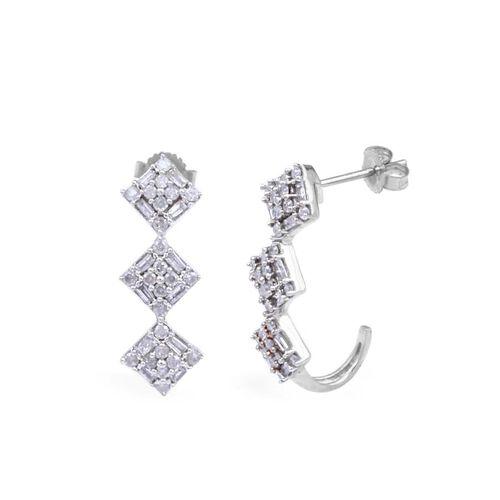 9K W Gold GSI Certified Diamond (Rnd) (I3/G-H) J Hoop Earrings (with Push Back) 1.000 Ct.