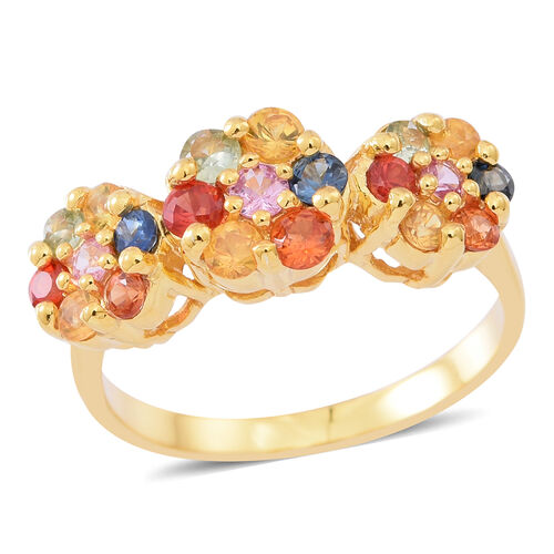 AAA Rainbow Sapphire (Rnd) Triple Floral Ring in 14K Gold Overlay Sterling Silver 1.540 Ct.