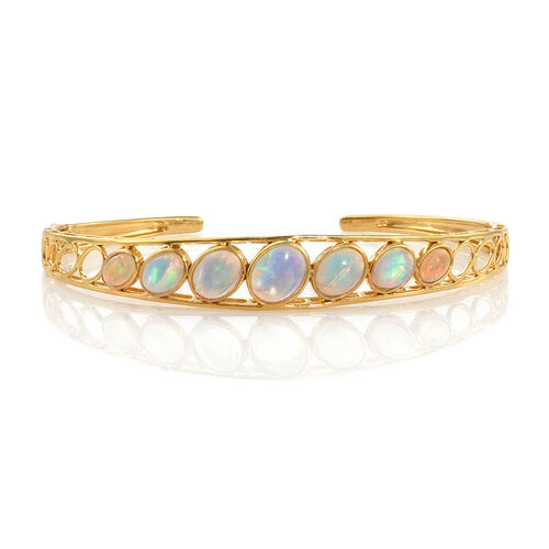 Ethiopian Welo Opal (Ovl) Bangle (Size 7.5) in 14K Gold Overlay Sterling Silver 4.500 Ct. Silver wt 11.90 Gms.