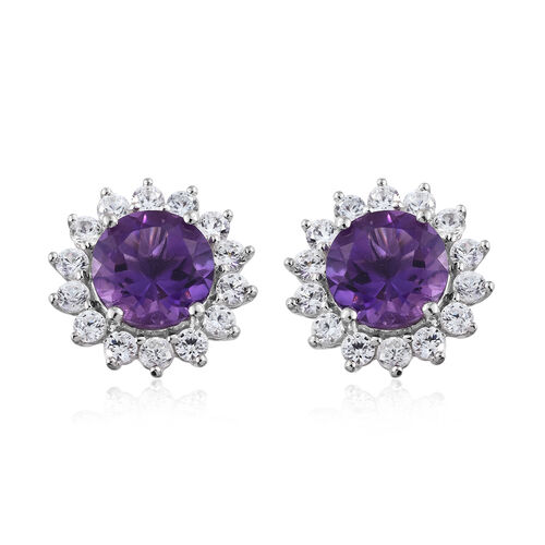 Lusaka Amethyst (Rnd), Natural Cambodian Zircon Floral Stud Earrings (with Push Back) in Platinum Overlay Sterling Silver 10.250 Ct.