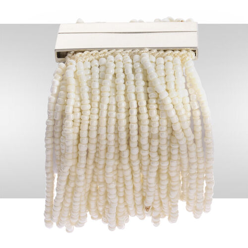 White Glass Seed Beaded Bracelet (Size 8) in Silver Tone