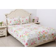 White, Pink and Multi Colour Flower and Leaves Printed Quilt with 2 Pillow Shams