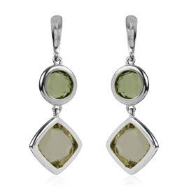 6.46 Ct Lemon Quartz and Hebei Peridot Earrings in Rhodium Plated Silver