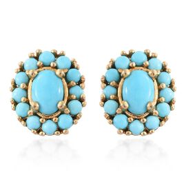 Arizona Sleeping Beauty Turquoise (Ovl) Stud Earrings (with Push Back) in 14K Gold Overlay Sterling Silver 1.750 Ct.
