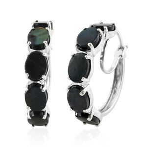 Spectrolite (Ovl) Hoop Earrings (with Clasp) in Platinum Overlay Sterling Silver 9.750 Ct. Silver wt 7.30 Gms.