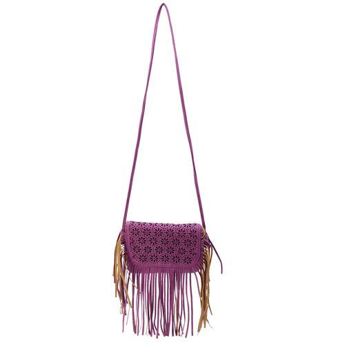 Laser Cut Floral Pattern Purple Colour Crossbody Bag with Fringes (Size 19.5x17 Cm)